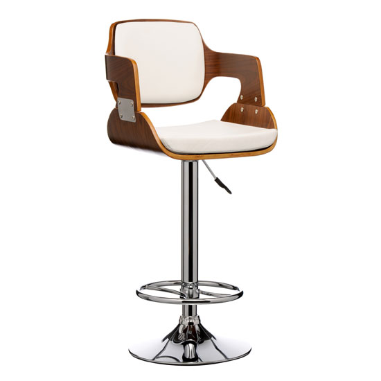 Maddison Bar Stool In White And Walnut With Chrome Base