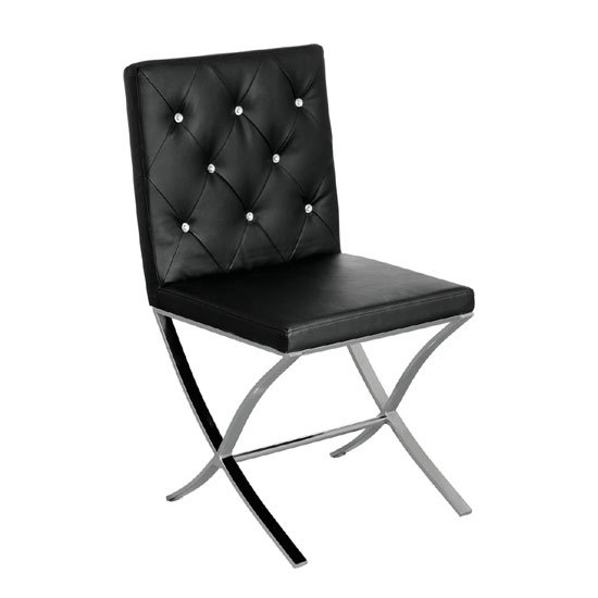 Solo Black Leather Effect Dining Chair With Stainless Steel Legs