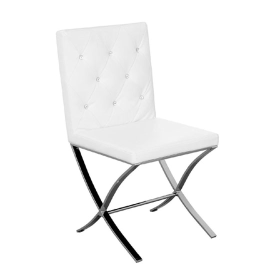 Solo White Leather Effect Dining Chair With Stainless steel Legs