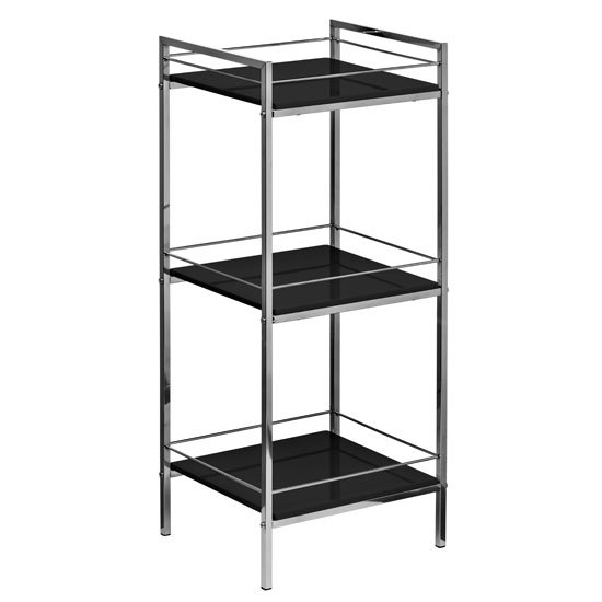 3 TIER BLACK HIGH GLOSS SHELF UNIT CHROME FRAME