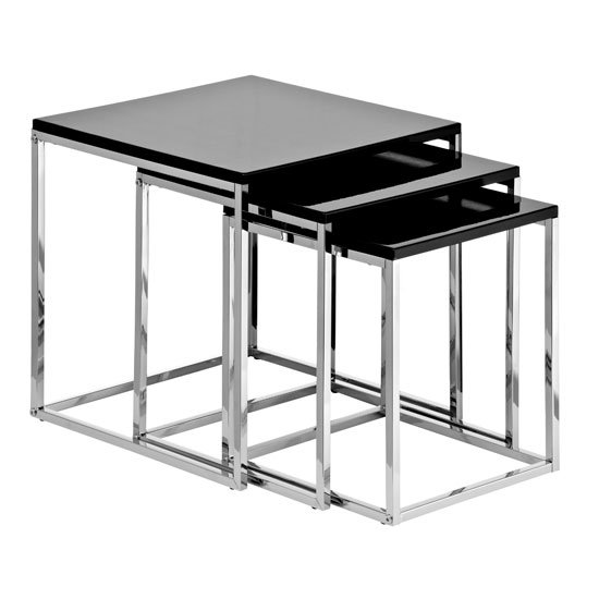 Krystal Set Of 3 Nesting Tables In Black Gloss With Chrome Legs