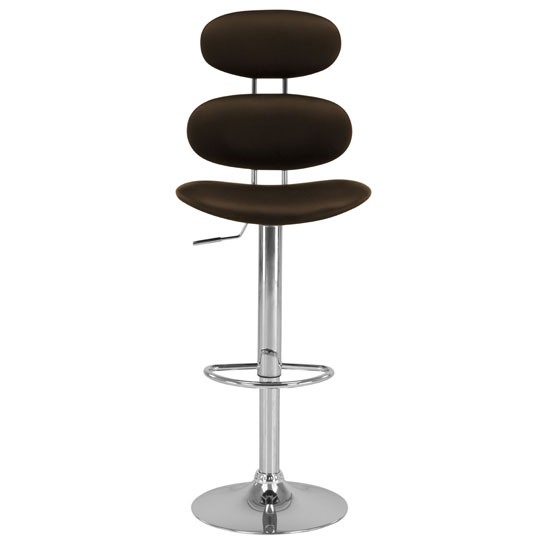 Read more about Star bar stool in chocolate brown faux leather with chrome base