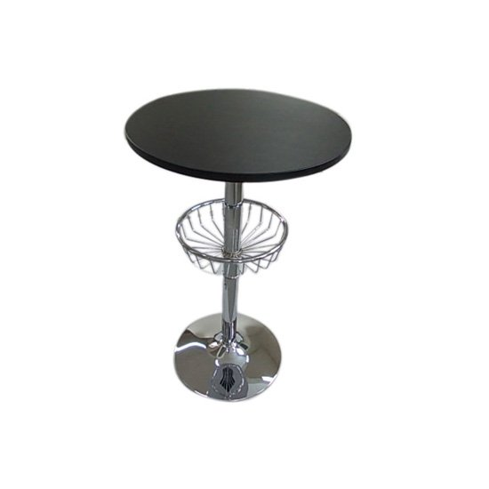 Venus Bar Table In Black With Chrome Base