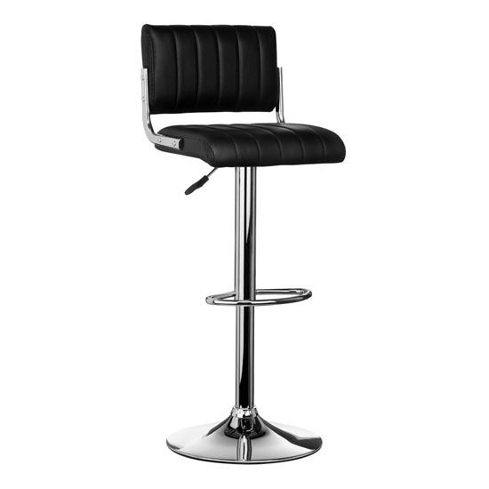 Ribbed Bar Stool In Black Faux Leather With Chrome Base