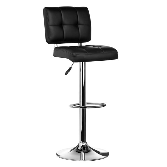 Modern Bar Stool In Black Faux Leather With Chrome Base