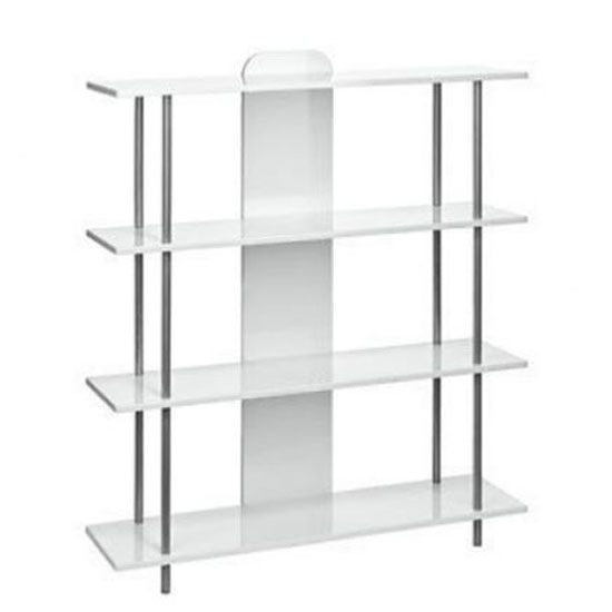 4 Tier White Shelving Unit in High Gloss With Steel Tubes