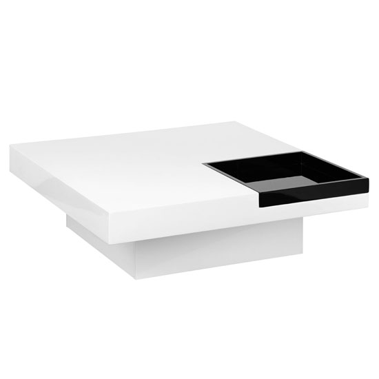 High Gloss Tray Coffee Table In White And Black