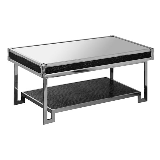 Medio mirror effect top coffee table with metal frame 22999 for Metal frame glass coffee table