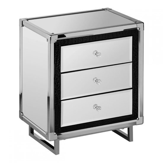 Medio mirror effect top bedside cabinet with metal frame for Mirror bedside cabinets