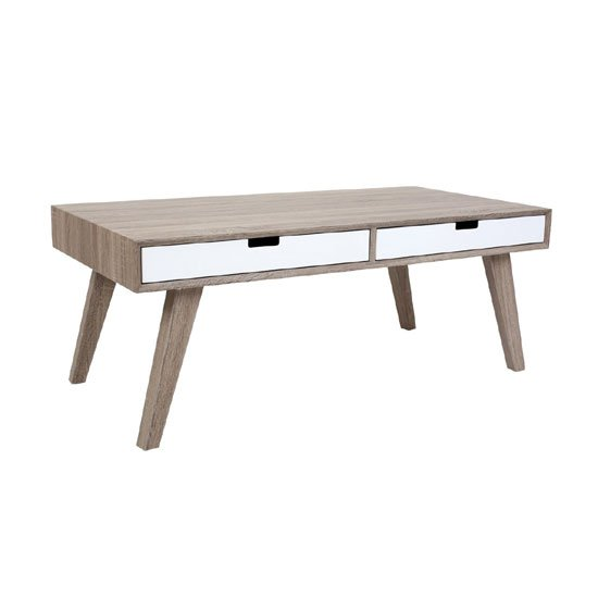 Idun Rectangular Wooden Coffee Table with 2 Drawers
