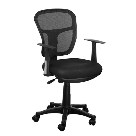 Santo Black Padded Fabric Seat With Mesh Back Rest Office Chair