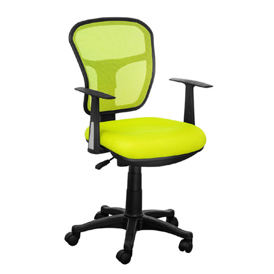 Santo Yellow Padded Fabric Seat With Mesh Back Rest Office Chair