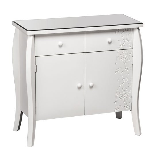 Flair Glass Top Sideboard In White With 2 Doors And 2 Drawers