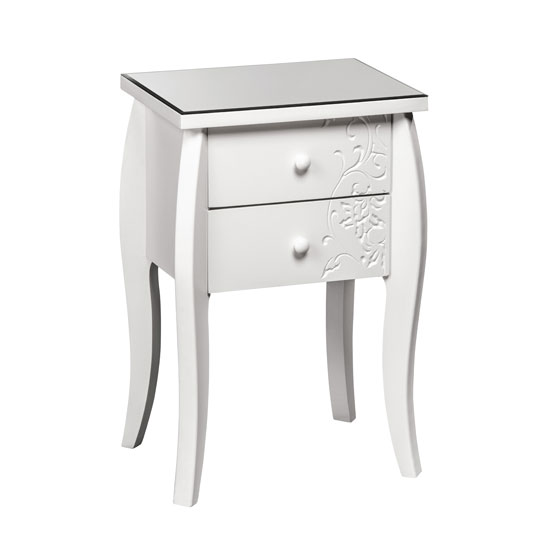 Read more about Flair bedside cabinet in white with glass top and 2 drawers