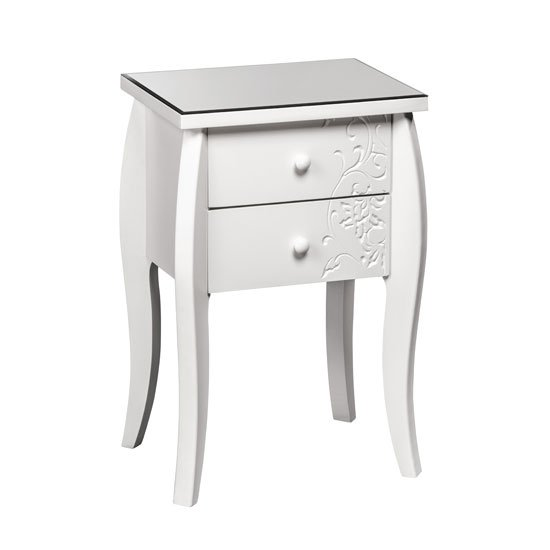 Flair Bedside Cabinet In White With Glass Top And 2 Drawers