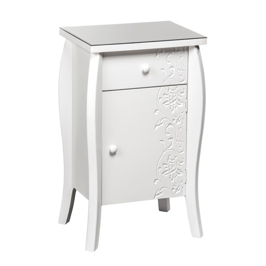 Flair Small Bedside Cabinet In White With Glass Top