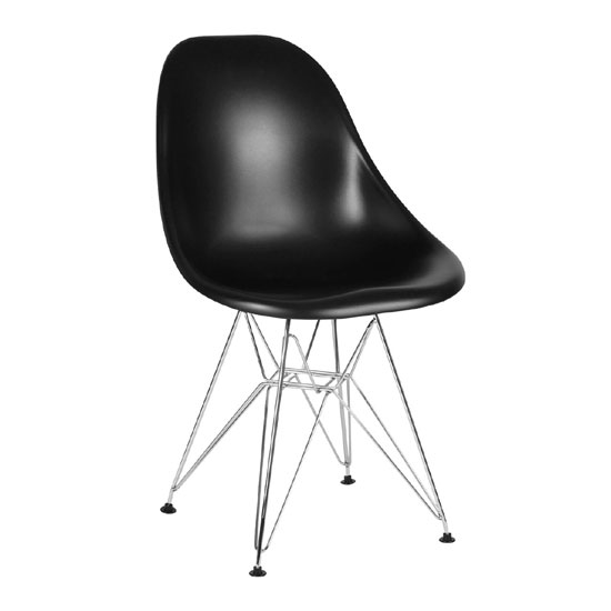 Milan Black ABS Plastic Finish Dining Chair With Chrome Legs
