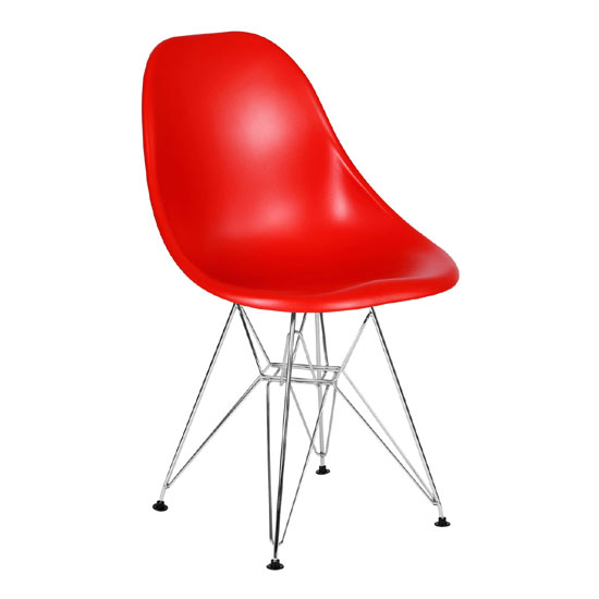 Milan Red ABS Plastic Finish Dining Chair With Chrome Legs
