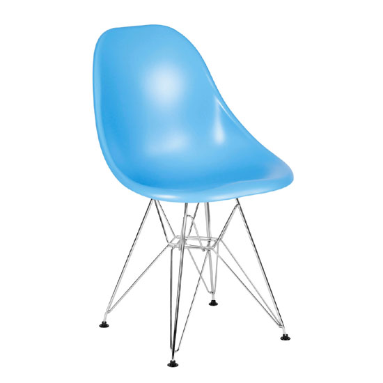 Milan Blue ABS Plastic Finish Dining Chair With Chrome Legs