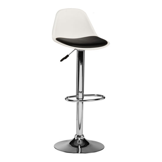Xian Bar Stool In White With Black PU Seat And Chrome Base