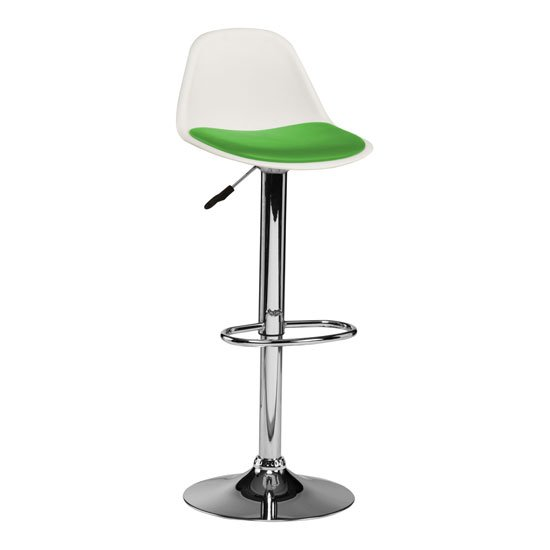 Xian Bar Stool In White With Green PU Seat And Chrome Base