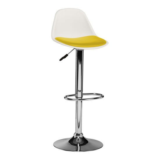 Xian Bar Stool In White With Yellow PU Seat And Chrome Base