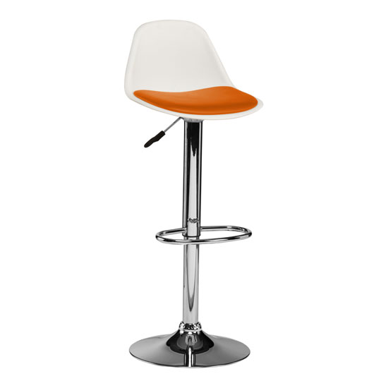 Xian Bar Stool In White With Orange PU Seat And Chrome Base