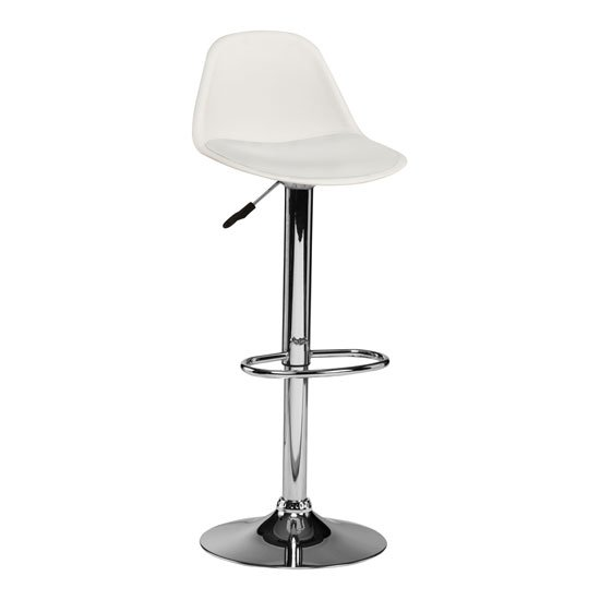 Xian Bar Stool In White Faux Leather Seat And Chrome Base