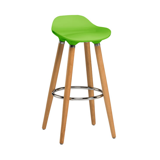 Adoni Bar Stool In Green ABS With Natural Beech Wooden Legs