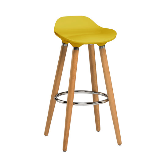 Adoni Bar Stool In Yellow Abs With Natural Beech Wooden Legs