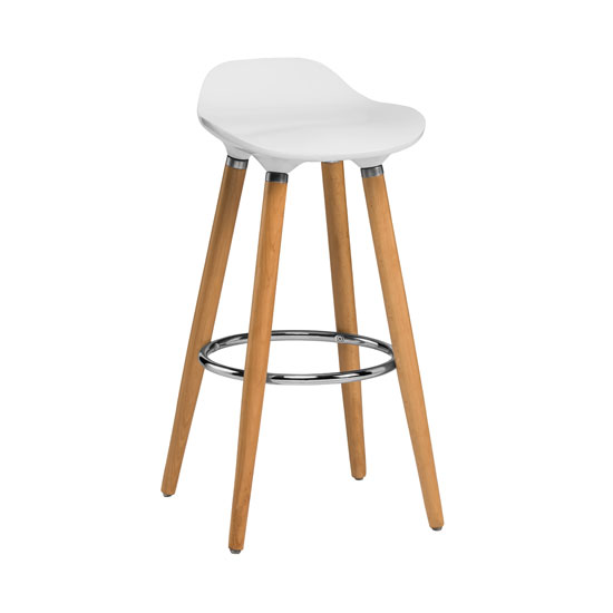 Adoni Bar Stool In White ABS With Natural Beech Wooden Legs