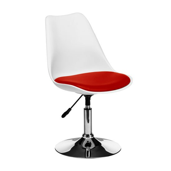 Cairo Bar Chair In White ABS With Red Faux Leather Seat