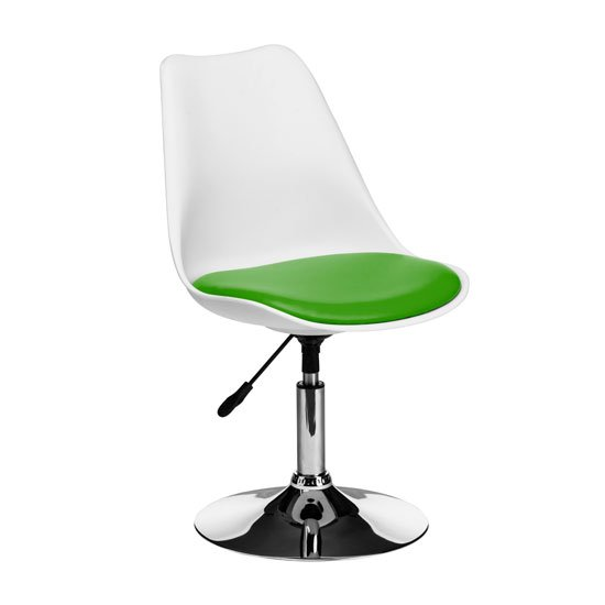 Cairo Bar Chair In White ABS With Green Faux Leather Seat