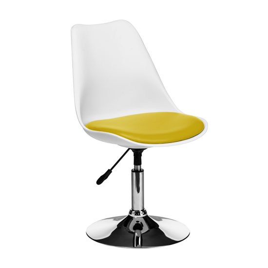 Cairo Bar Chair In White ABS With Yellow Faux Leather Seat