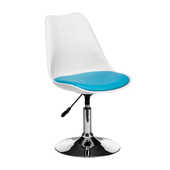 Cairo Bar Chair In White ABS With Blue Faux Leather Seat