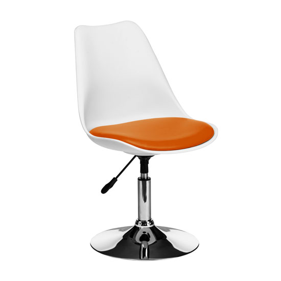 Cairo Bar Chair In White ABS With Orange Faux Leather Seat
