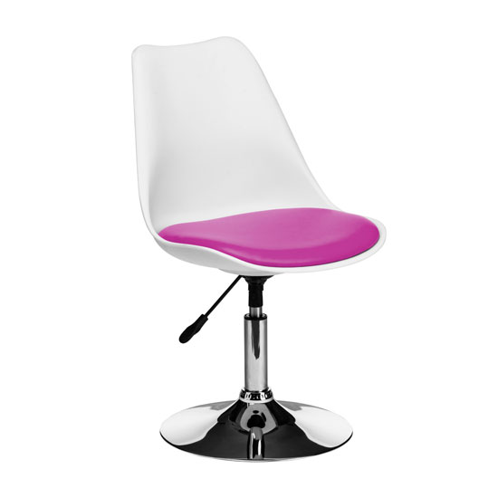 Cairo Bar Chair In White ABS With Pink Faux Leather Seat