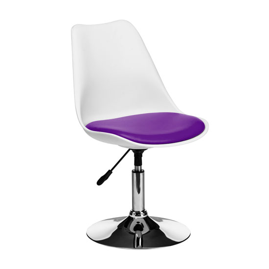 Cairo Bar Chair In White ABS With Purple Faux Leather Seat