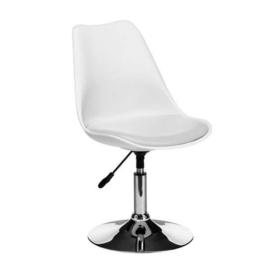Cairo Bar Chair In White ABS With Faux Leather Seat