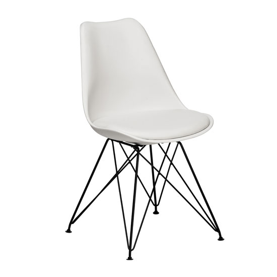 Alford dining chair in white abs plastic with faux leather for White plastic dining chair