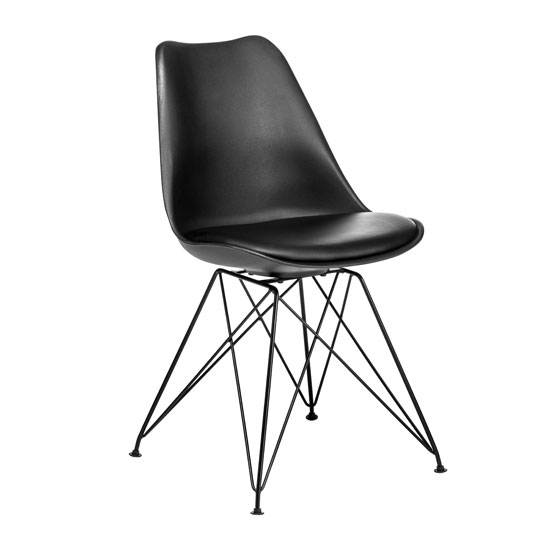 Alford Dining Chair In Black ABS Plastic With Faux Leather Seat