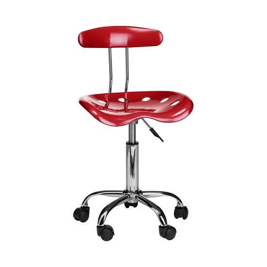 Hanoi Office Chair In Red ABS With Chrome Base And 5 Wheels