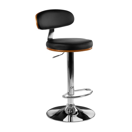 Crofton Bar Stool In Black Faux Leather With Chrome Base