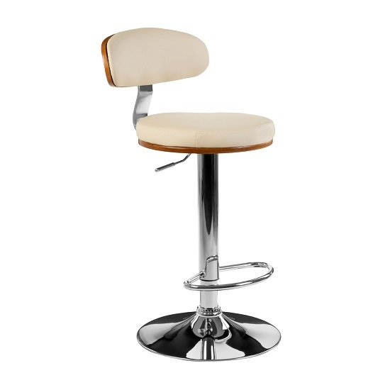Crofton Bar Stool In Cream Faux Leather With Chrome Base