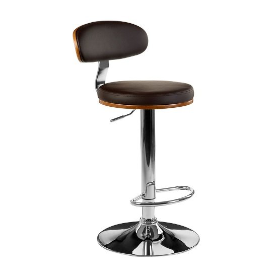 Crofton Bar Stool In Brown Faux Leather With Chrome Base