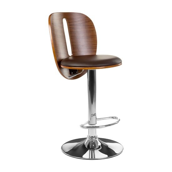 Wesley Bar Stool In Brown Faux Leather With Chrome Base