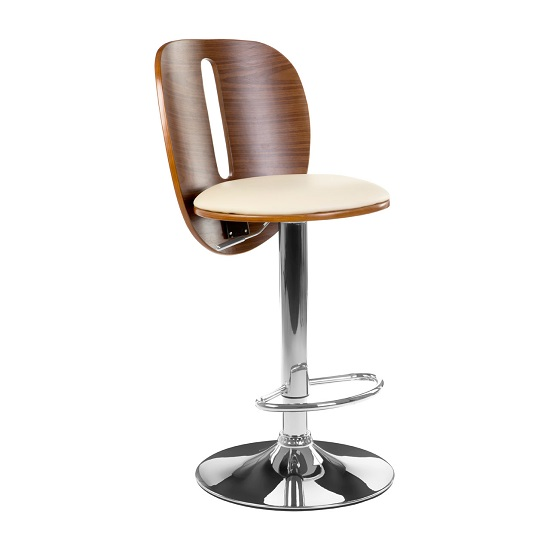 Wesley Bar Stool In Cream Faux Leather With Chrome Base