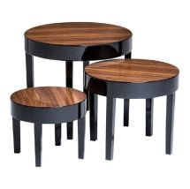 Archie Nest of Tables In Pear Wood With Pine Legs In Black Gloss