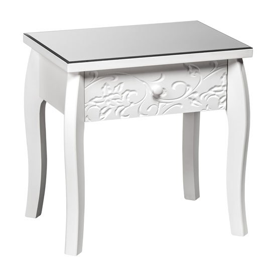 Flair Side Table In White With Glass Top And 1 Drawer