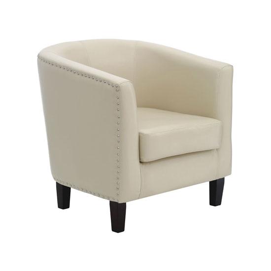 Brisbane Modern Tub Chair In Ivory Faux Leather
